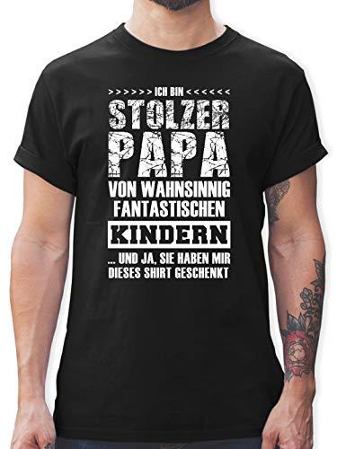 Vatertagsgeschenk - Stolzer Papa Fantastische Kinder - L - Schwarz - t Shirts männer stolzer Papa - L190 - Tshirt Herren und Männer T-Shirts