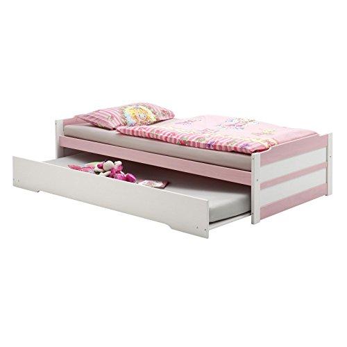 IDIMEX Tandembett Funktionsbett Schubladenbett Auszugsbett Lorena in weiß/rosa lackiert 90 x 200 cm Liegefläche