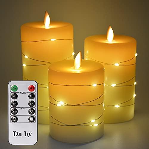 LED Kerzen, mit eingebetteten Lichterketten, Da by 3-LED-Kerzen, mit 10-Tasten-Fernbedienung, 24-Stunden-Timer-Funktion, tanzender Flamme, echtem Wachs, batteriebetrieben.