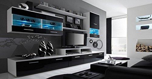 Home Innovation – Glanzlack Wohnwand, Wohnzimmer, Wohnzimmerschrank, Anbauwand, Esszimmer mit LEDs, weiß matt und schwarz lackiert, Maße: 250 x 194 x 42 cm, Tiefe.