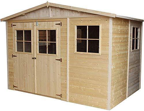 TIMBELA Holz Gartenschuppen - Abstellkammer mit Fenstern - H226x318x220 cm/6 m² Naturholz-Shiplap-Schuppen - Gartenwerkstatt - Fahrrad- Geräteschuppen M334