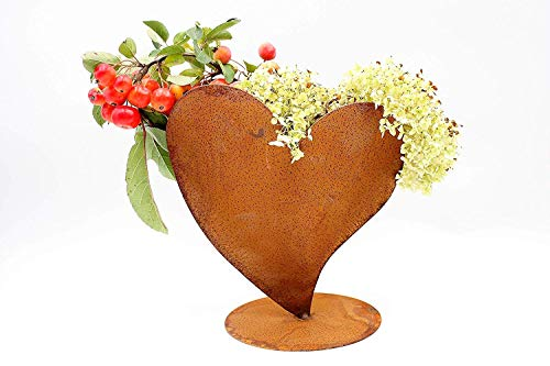 Rostikal | Dekoherz Rostherz zum bepflanzen | Edelrost Metall Herz Gartendeko | 32cm