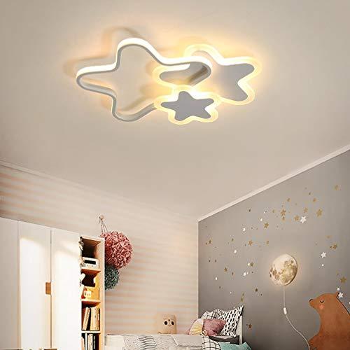 Kinderzimmerlampe LED Dimmbar Deckenleuchte Kinder Mädchen Junge Schlafzimmer Deko Decke Lampe, Modern 3 Stern Design Acryl-schirm Deckenlampe für Esszimmer Bad, mit Fernbedienung Ø52*H6cm (Weiß)