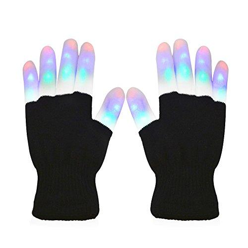 Vicloon LED leuchtende, 7-Mode-LED Bunte Blinklicht Finger-Handschuhe Für Clubs, Festivals, Weihnachten, Laufen, Radfahren, Sports (Halb Schwarz)