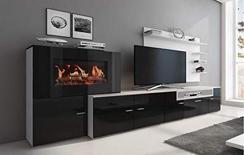 Home innovation- Wohnmöbel mit elektrischem Kamin mit 5 Flammenstufen, Oberfläche weiß Mate und schwarz lackiert, Maße: 290 x 170 x 45 cm tief