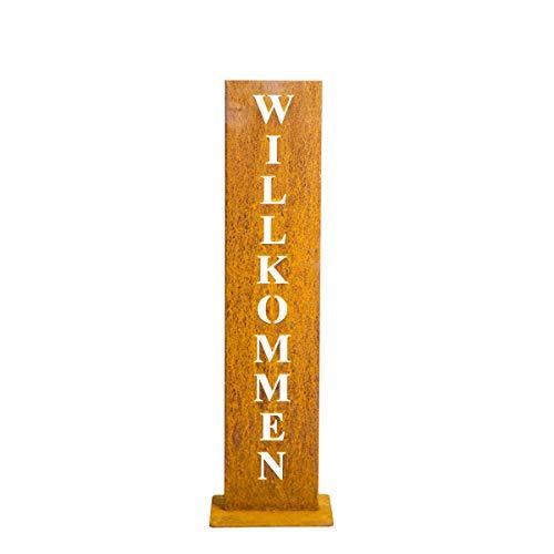 tradeNX 'Willkommen-Ständer aus Stahl in Edelrostoptik – Dekoratives Schild für den Hauseingang