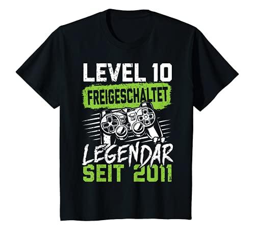 Kinder Level 10 Jahre Geburtstagsshirt Junge Gamer 2011 Geburtstag T-Shirt