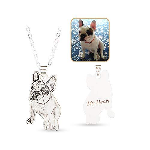 Loveu Jewelry Kette Damen Herren Halskette mit Fotogravur und Textgravur 925 Sterling Silber,personalisierte Foto Anhänger,Personalisierte Herz Anhänger Silber