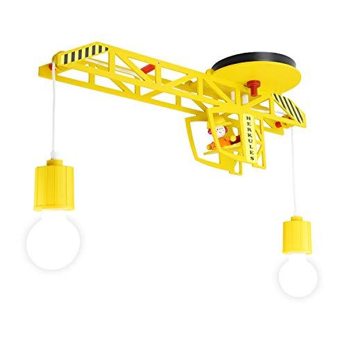 Elobra Deckenlampe Kinderzimmer 'Herkules' | Hochwertige Kinderzimmerlampe für Jungen im Kran-Design, gelb, Echtholz, 60 x 20 x 20 cm, Handarbeit - Hergestellt in Deutschland