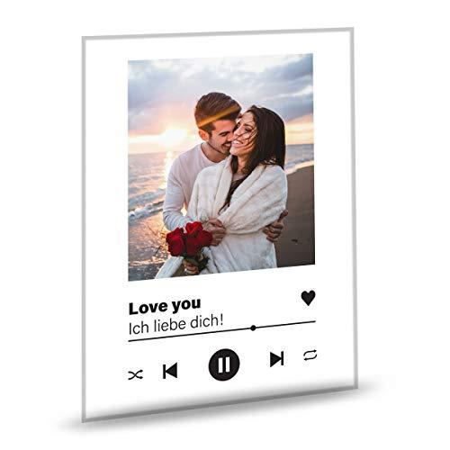 GRAVURZEILE Song Cover Glas Foto mit Bild + Titel und Musikalbum - Valentinstag Geschenk für Sie & Ihn - Geschenk für Frauen & Männer - Personalisierte Geschenke