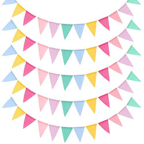 Vegena 5er Pack Wimpelkette Wimpel Banner, Wimpel Girlande Outdoor Dekoration 4.2 Meter 12Pcs Wimpel/Jede Girlande, für Geburtstag Hochzeit Haus Weihnachten Baby Shower Party