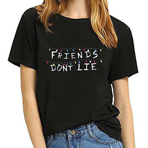 Stranger Things Shirt Damen, Teenager Mädchen Stranger Things Friends Dont Lie Sommer T-Shirts Frauen Upside Down Kurzarm Tshirts Sport Casual Blusen Shirt Oberteile Tops Hemd Sale (Schwarz 2,M)