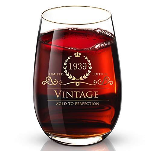 DesBerry 81. Geburtstags- / Jubiläumsgeschenke Weinglas ohne Stiel, Weingläser mit24k Gold handgefertigte Jahreszahl 1939 Universalbecher (1 Stück)