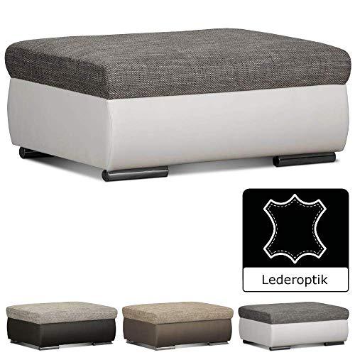 Cavadore Couch Hocker Leriot / Polsterhocker im modernen Design / Sitzhocker, Fußhocker mit Strukturstoff und Kunstleder / 95 x 42 x 72 cm (BxHxT) / Weiß - Grau