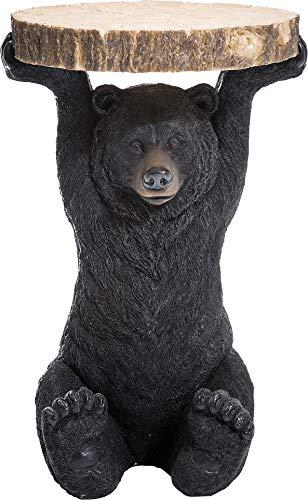 Kare Design Beistelltisch Animal Bär, Ø40cm, kleiner, runder Couchtisch in Holzoptik, Tierfigur als ausgefallener Wohnzimmertisch (H/B/T) 54x40x40cm