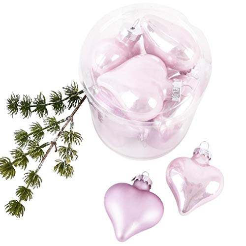 Dadeldo Home Herz Baumschmuck 10-Teilig Glas 6cm rosa-Mix