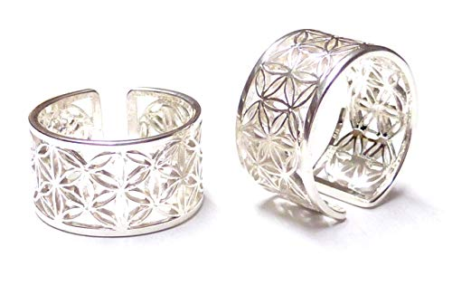 Silberring, Band Ring offen, Motiv Blume des Lebens, Gr. 58-18.5, aus 925 Sterling Silber filigran gearbeitet, Schmuck für Frauen, Geschenk, Freundschaft,