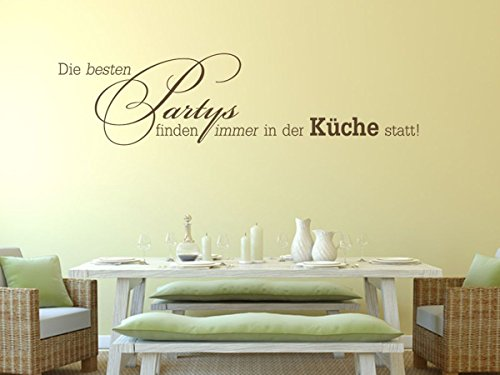 Wandtattoo-bilder Wandtattoo Die besten Partys finden immer in der Küche statt Nr 1 Küchendeko Küchenideen Größe 60x15, Farbe Schwarz