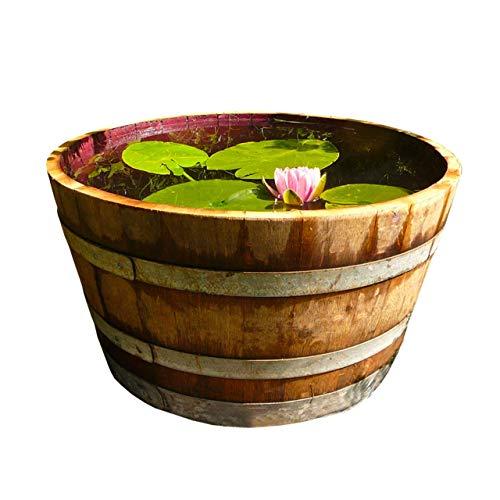 Temesso Holzfass Weinfass halbiert aus Eichen-Holz Fass als Pflanzkübel oder Miniteich (D70 H40 cm 100 Liter)