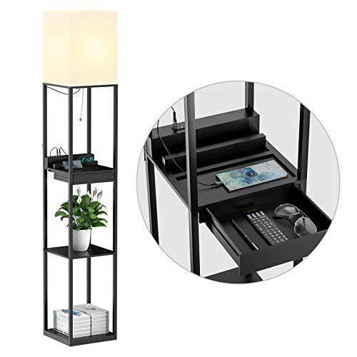 SUNMORY Stehlampe Wohnzimmer, Stehlampe mit Regal aus Massivholz, 3 Farbtemperaturen, 2 USB-Ladeanschlüsse und 1 Schublade, Stehlampen für Wohnzimmer, Schlafzimmer, Stehlampe Schwarz(Mit Glühbirne)
