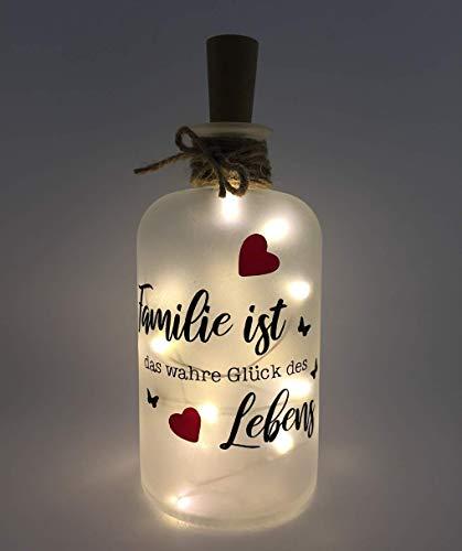 Flaschenlicht individuell LED Lichterkette Familie ist das wahre Glück des Lebens Geschenk Überraschung Weihnachten LED Leuchte Leuchtflasche Bottlelight Made in Germany