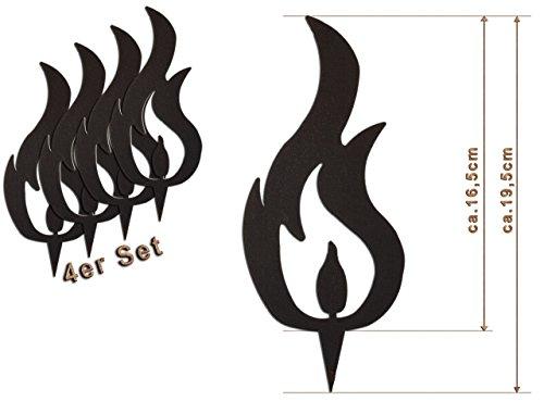 Edelrost Deko-Flamme 4er Set (DREI Spitzen) Größe L/ 19,5cm: Wunderschöner Deko-Artikel für Ihre Wohnung - Weihnachts-Deko von Manufakt-Design