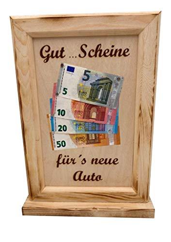 Auto Geldgeschenk - Gut…Scheine – Geldgeschenke zum Führerschein – Geld verschenken - originelle Geld Geschenk für Männer und Frauen – die Geldgeschenk Verpackung – Geschenkidee aus Holz