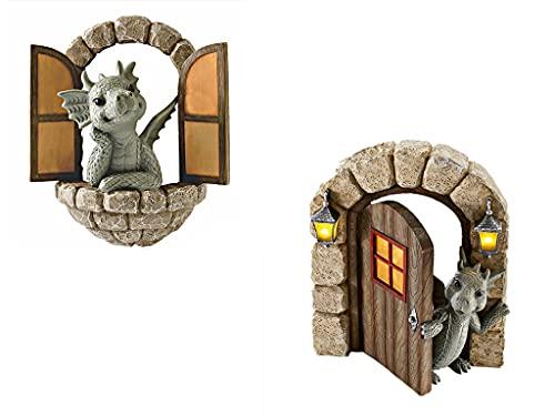 Reooly 2PC-Drachenskulptur Statue Garten Ornament, Drachen dekorative Schlafzimmer Wohnzimmer Terrasse Balkon Hof Rasen, Balkon oder Outdoor Harz Handwerk