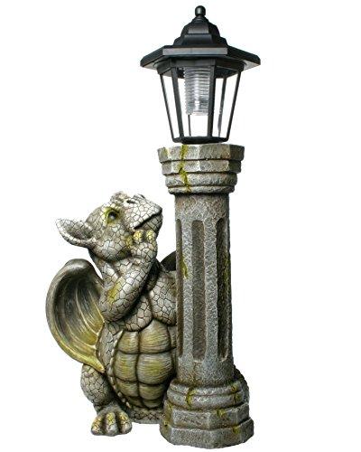 Drachen Gartenfigur an Solarlampe Drachenkind