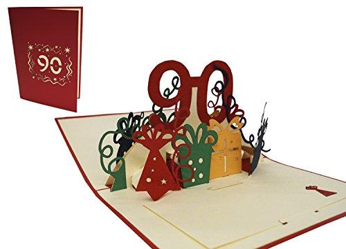 LIN-POP UP Grußkarten zum 90. Geburtstag, Geburtstagskarten Grußkarten Glückwunschkarten, 90. Jahre