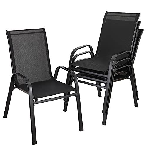 Stahlrahmen-Hochlehner-Terrassenstühle, 4 Gartenstühle, Balkonstühle, stapelbar,atmungsaktiver Netzbezug aus Teslin-Gewebe, belastbar 150 kg, 54 x 73,5 x 91 cm