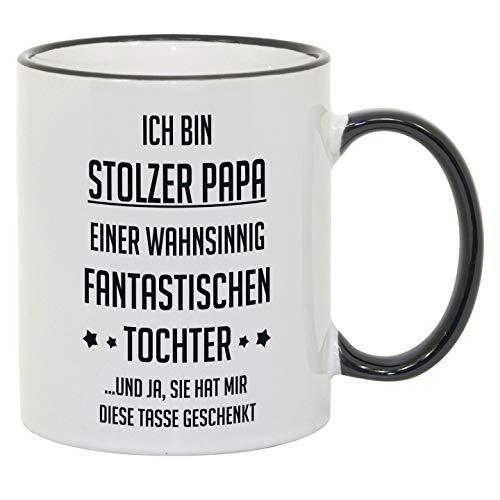 Tasse mit Spruch / Schriftzug 'Ich bin stolzer Papa...' als Geschenk zum Geburtstag, Vatertag oder zu Weihnachten