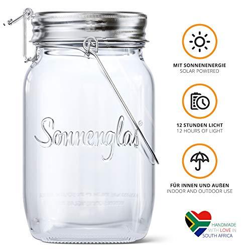 SONNENGLAS Original | Solar-Laterne im Einmachglas mit Micro-USB Anschluss | Fair Trade aus Südafrika | Bekannt aus Pro7 Galileo | Glas und Edelstahl | Sun Jar Solarlampe
