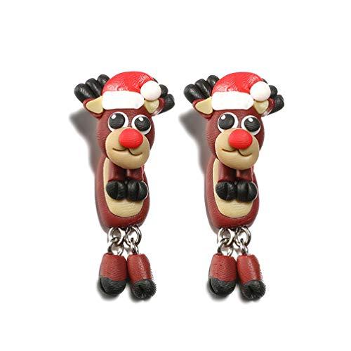 YAZILIND Frauen Cartoon Santa Claus Elk 3D niedlichen Polymer Clay Soft Ohrstecker Ohrringe Weihnachtsschmuck Weihnachtselch