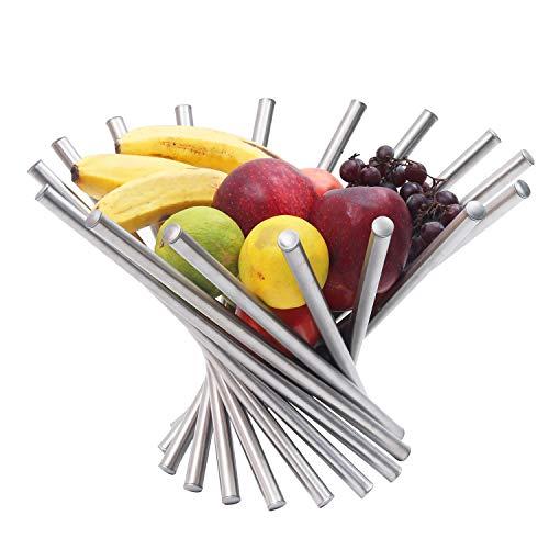 BELLE VOUS Obstschale - Kreative Faltbare Obstkorb aus Edelstahl - Moderner Anti-Rust Rotation Obstkorb - Einzigartiger Küche Esstisch Dekoration Obstkorb Silber