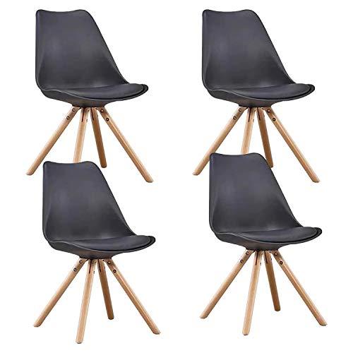 MIFI Tulpe Esszimmer Retro Design Stühle 4er Set mit Holzbeinen Und Sitzkissen Eiffelturmstuhl für Esszimmer, Wohnzimmer Oder Küche, Balkon Stabiler und Bequemer Stuhl (Schwarz)