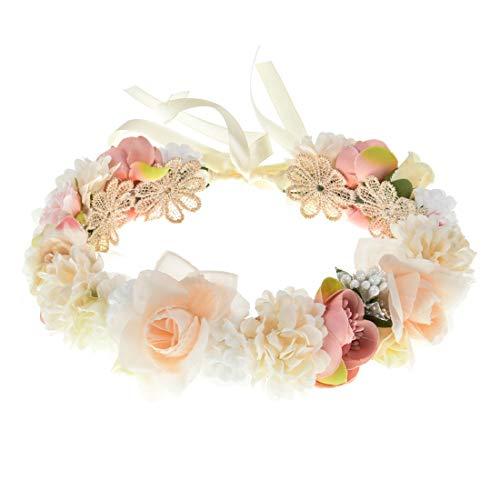 Ever Fairy Damen Haarband Blumen Mädchen Blumenkrone Blumenkranz Haare für Frauen Hochzeit Party