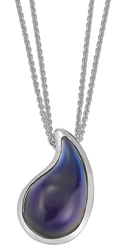 Esprit Damen-Kette drip drop Edelstahl 1 Glasstein blau 42-45cm S.ESNL11820B420