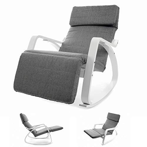 VECOTTI Schaukelstuhl, Relaxstuhl mit Verstellbarer Fußstütze, Schaukelsessel für Wohnzimmer, Terrasse, Balkon, einfache Montage (GRAU)