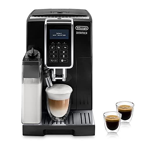 De'Longhi Dinamica ECAM 350.55.B Kaffeevollautomat mit Milchsystem, Cappuccino, Espresso und Kaffee auf Knopfdruck, Digitaldisplay mit Klartext, 2-Tassen-Funktion, Großer 1,8 Liter Wassertank, Schwarz