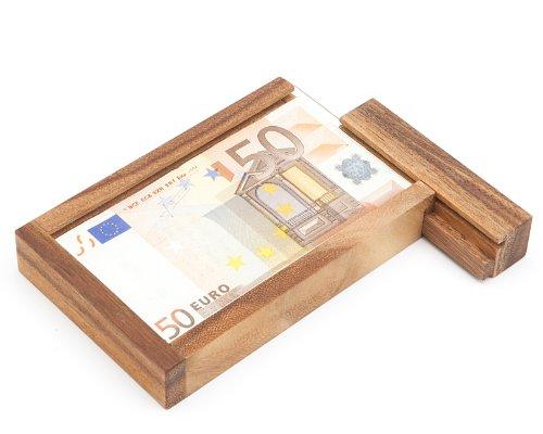 Casa Vivente – Magische Geldgeschenkbox – Knobelspiel aus Holz – Geschenkverpackung mit Trickverschluss – Geduldspiel als Originelles Geburtstagsgeschenk – Verpackung für Geldgeschenke