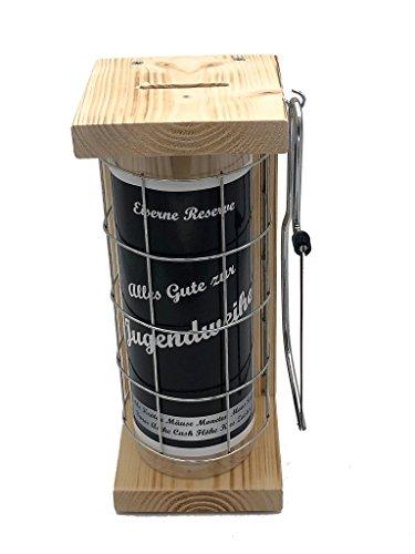 Alles Gute zur Jugendweihe Eiserne Reserve Spardose incl. Säge zum zersägen des Gitter Geldgeschenk Sparbüchse, witzige Sparbüchse, Geschenkidee