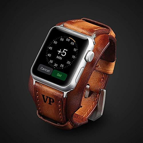 Luxus Apple Watch Strap Hand genäht Vintage echtes Leder Apple Watch Band 38mm 42mm 44mm iwatch Band Gurt Herren Freund Mann Geschenk Serie 6 SE 5 4 3 personalisierte graviert Geschenk Luxus Premium