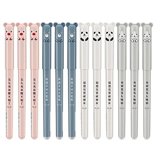 12 Stück Süße Schweine Panda Löschbaren Gel Stift,0,35mm Kawaii Gel Stift Kugelschreiber,Gelschreiber Schwarz Radierbar,Gel Stift Süße Kugelschreiber,für Kinder,Studenten,Erwachsene (Schwarz)