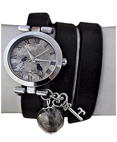 Echte Feder Echtleder Armbanduhr Damenuhr Wickeluhr - Geschenk für Sie - Handmade Geschenk - Weihnachtsgeschenk
