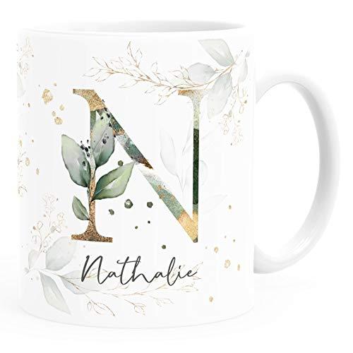SpecialMe® Kaffee-Tasse mit Buchstabe Monogramm personalisiert mit Wunschname Initiale Blätter-Motiv persönliche Geschenke weiß Keramik-Tasse