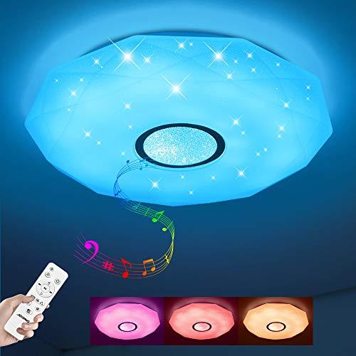 Led Deckenleuchte mit Lautsprecher und Fernbedienung 24W Farbwechsel Sternenhimmel,dimmbar,IP44 Wasserfest für Badzimmer Schlafzimmer Kinderzimmer Wohnzimmer ohne App
