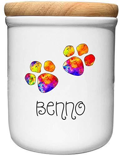 Cadouri Keramik Leckerli-Dose BUNTE PFOTEN - personalisiert - mit Name deines Hundes┊Snackdose Keksdose Aufbewahrungsdose┊tolle Geschenkidee für Hundebesitzer
