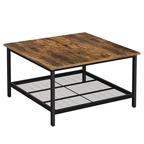 VASAGLE Couchtisch, Kaffeetisch, aus Stahl, mit Gitterablage, quadratisch, Industrie-Design, für Wohnzimmer, vintagebraun-schwarz LCT065B01