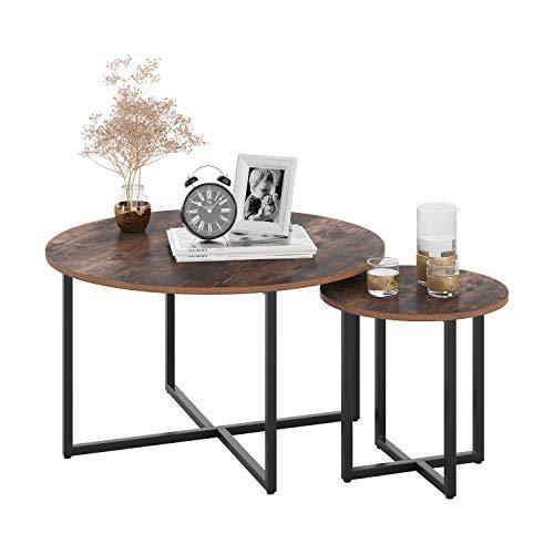 Homfa 2X Beistelltisch Couchtisch Kaffetisch Satztisch rund Vintage Set Groß(80x80x45cm),Klein(42x42x40cm)